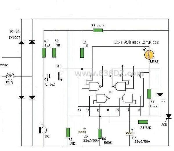 求高手做一个声控,光控楼道照明灯,照明时间为1分钟的电路图.