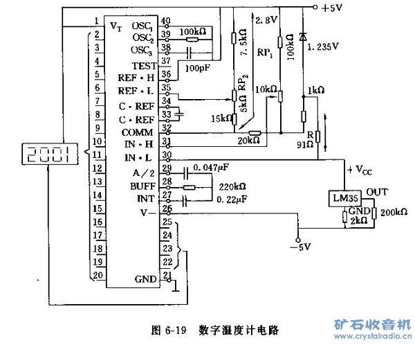 采用lm35和icl7107构成的数字温度计电路如图所示