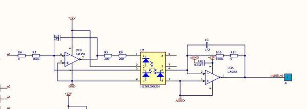 电流检测放大电路请教如图,这是交流电流检测的放大电路,输出时0~5v的