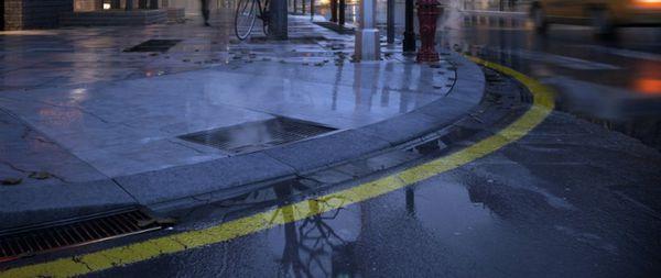 3dmax 怎么调下过雨后湿滑地面的vray材质 如图 不是用ps.