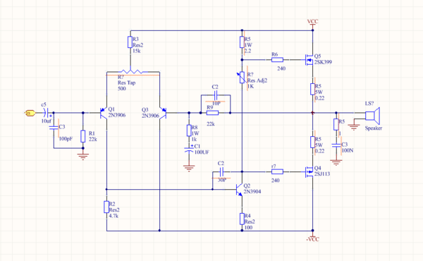 multisim仿真电路修改,乙类互补推免功率放大器交越失真的消除
