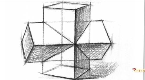 几何素描结构,穿插的长方体问题.