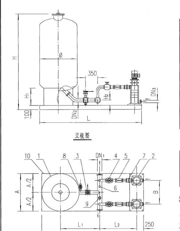 消防储水罐(稳压罐) 剖面图图片