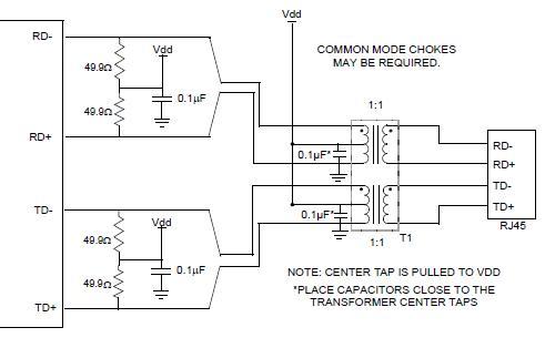 以太网网络变压器和rj45的连接