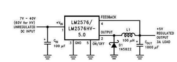 lm2576电路无法输出5v电压