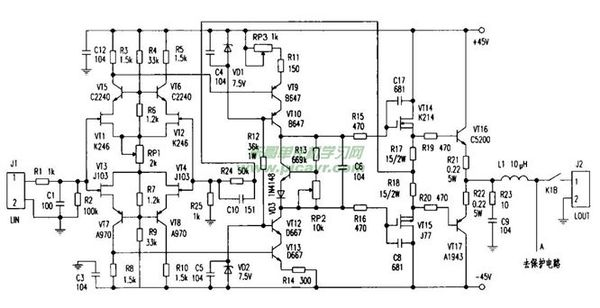 题目: c5198和A1941怎么能做一个简单的功放呢 都用什么 解答: 一个功放的电路都会包括前端的电压放大和后级的电流放大,以及合适的偏置电路,所以一个较成熟的电路都会选择较多的元件,并且,电路的繁简程度不会因为选择了某个元件而有所改变. 如果仅用C5198 和A1941来做功放常称为分立元件的功放电路,功率可以做到100W左右,如果是新手,还想要得到较满意的音效的话,难度很大的,而且投入的费用也很大.