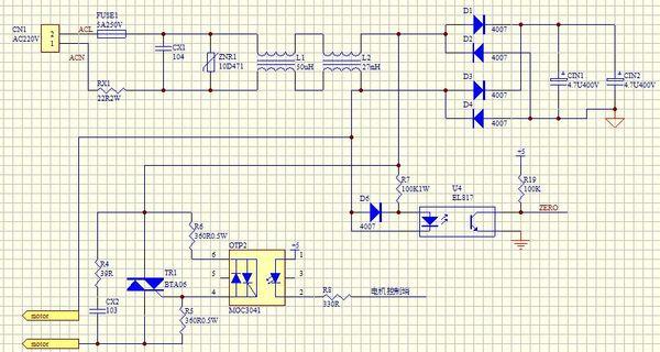 使用附件所示的电路图,过零检测使用一个光耦,光耦初级直接接交流220v图片