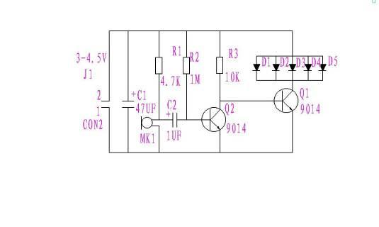 由这个电路图做出的电路,mk1接收声音越大,led灯就会越亮.