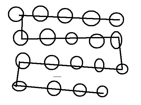 有24个圆圈圈,排成五排,第二排最后一个不排,用一条线