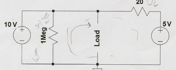 题目: 求戴维南等效电路 这个电路(如图)等效电阻Rth怎么算,感觉好像1M欧姆电阻的那个被短路了,不过问题说10v电源和5v电源都有40欧姆内阻,是要考虑内阻算吗?有大侠给出具体怎么算吗?  解答: 1)电压源考虑内阻,等效为电压源串接其内阻的形式,可将其等效为电流源并接其内阻的形式;电流源大小为(电压值/内阻值); 2)图中,LOAD左侧电路电压源内阻为40欧姆,将10V电压源等效为电流源并接内阻形式,40欧姆内阻与1M电阻并联等效后电阻约为40欧姆,即等效为0.