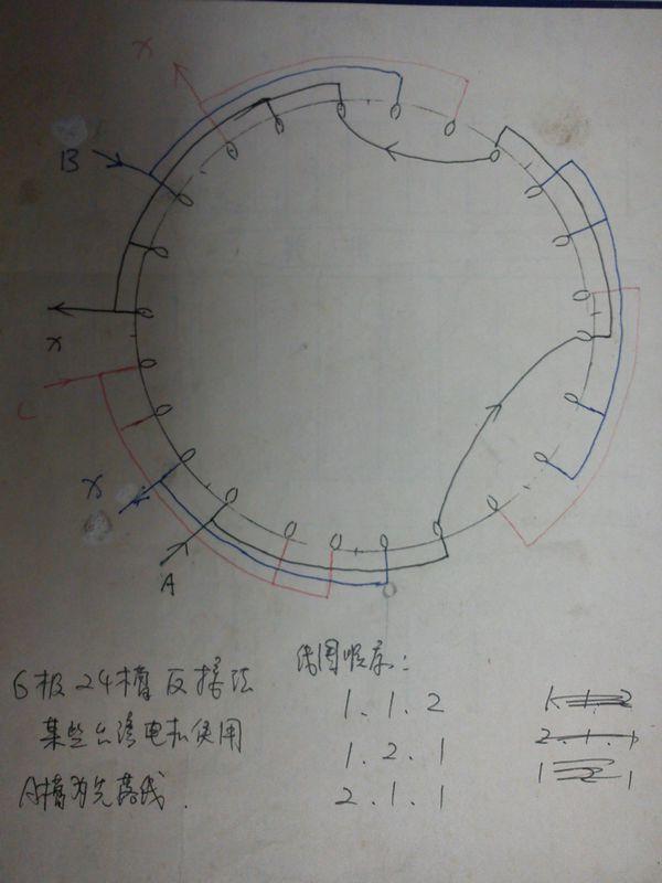 24槽6极三相马达单层绕组展开图