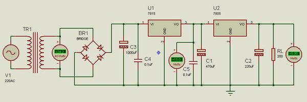 由7815和7805组成的24v转5v的电源电路的最大输出电流