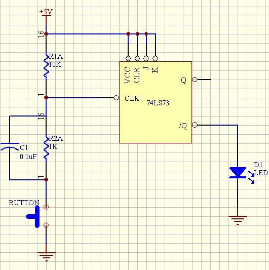 jk触发器的单键双稳态电路,不太可靠,有时候不翻转