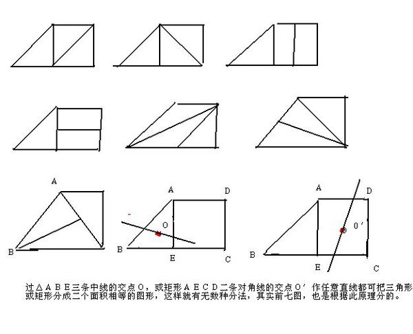 一个直角梯形,上下边是二倍关系,用两根线划分成三个面积相等的任意图片