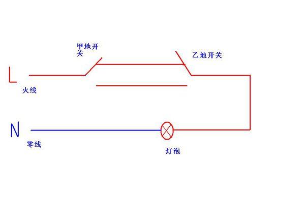 楼梯间单联双控开关配线接线示意图