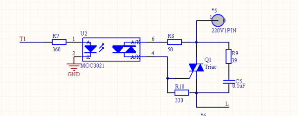 moc3021 接双向可控硅的时候,那个330Ω电阻的功率是怎么计算出来的?