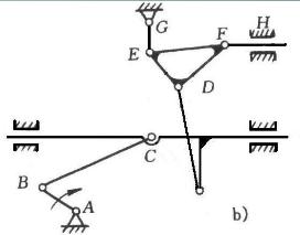 则根据自由度的计算公式有: f=3×n-2×pl=3×7-2×10=1 计算出来的