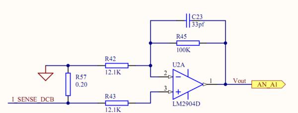 电路中的放大倍数,如图所示,i_sense_dcb产生的电流经过运放vout输出