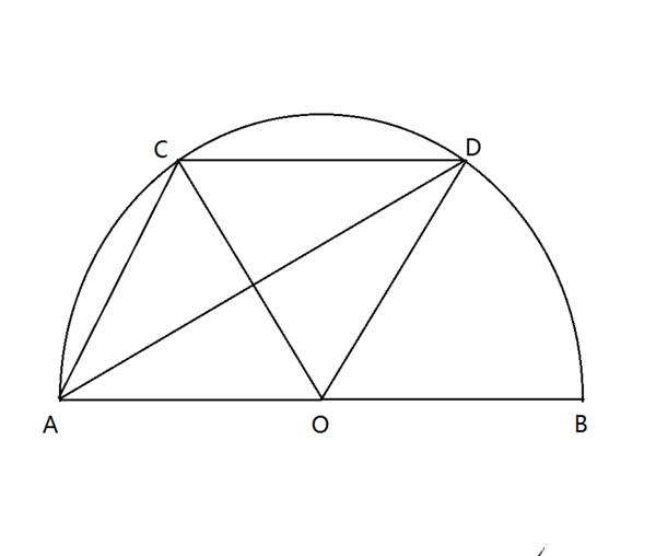 ab是半圆o的直径,c,d是弧ab的三等分点,求证:ac,ad两弦与弧cd所围成的