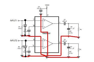 tda2822双声道功放上面的电解电容1_3脚(100uf/25/v)