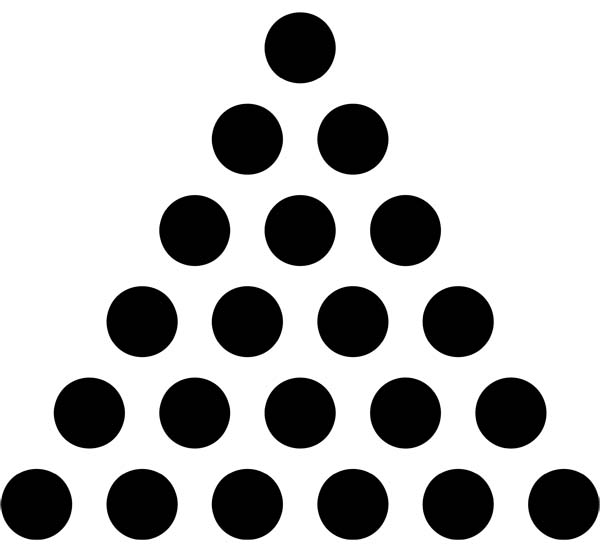 用黑色棋子摆出下列一组三角形,按此规律推断,第n个三角形所用的棋子