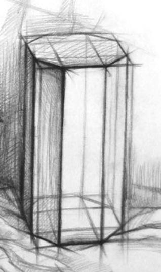 棱柱怎样画八棱柱应该怎样画,素描结构几何的.