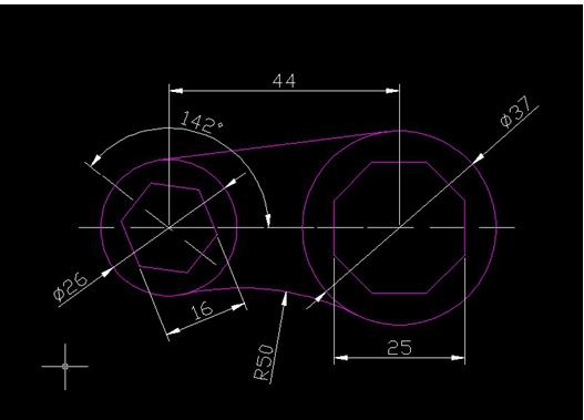 请问用autocad 怎么画这个图中的两个多边形,以及底部的圆弧切线?