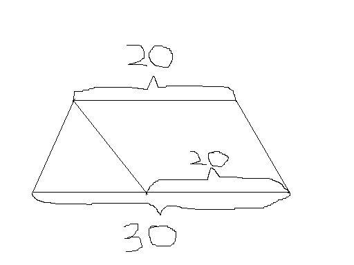 梯形的高=梯形的面积×2÷( 上底+下底) 三角形的底边是:30-20=10(米)