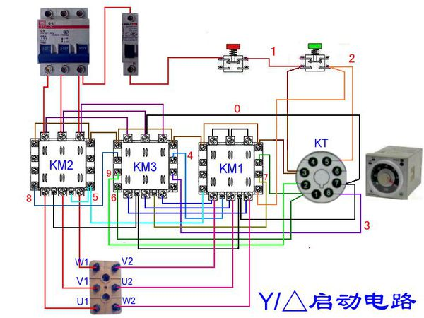 要实际电路图,星三角启动的电动机,用电子式时间继电器 延时启动的