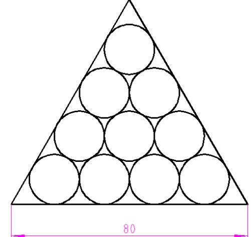 怎么在一个变长为100的等边三角形里面画10个相切的圆