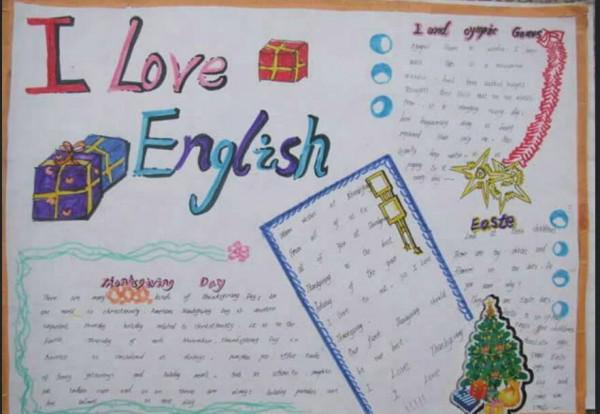 a4纸制作一张英语手抄报,以i love english 为主题,可以是喜欢的单词图片