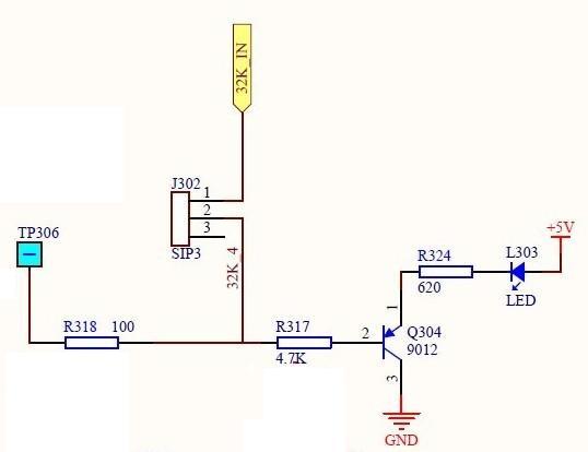 题目: 这个电路图各元件作用! 学艺不精 惭愧. 这是一个32K发码时钟的LED显示电路,检测发码时钟是否正常工作的.TP306是用于接示波器的检测端口,不是负极.SIP3在封装里面是过流保护装置.这个不甚明白,整个电路里有好几个这东西呢.我学习的三极管都是NPN,所以遇到PNP了就有点纠结,现在懂了,  解答: TP306为电源负极;R318、R317为Q304(三极管)基极限流电阻,以确保Q304通过合适电流饱和导通而不致电流过大烧毁三极管;R324是LED(发光二极管)限流电阻;SIP3(似是拔动开