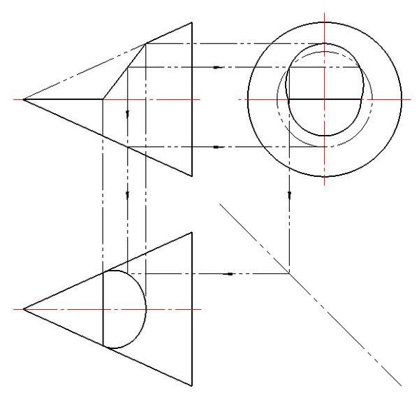 作出圆锥截切后的水平投影,并补全侧面投影