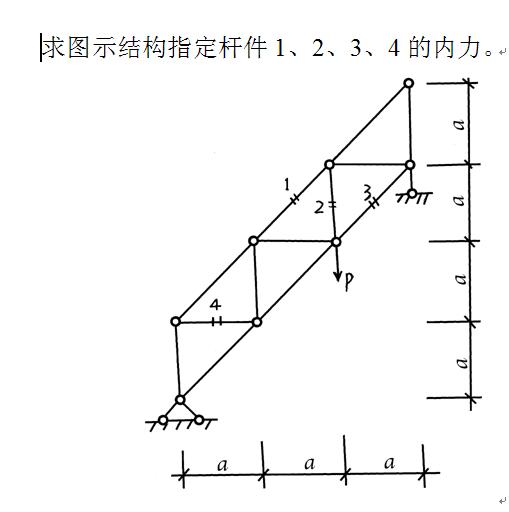 结构力学题目 1:求图示结构指定杆件1,2,3,4的内力.2