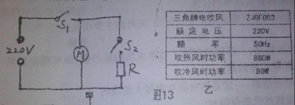 如图13所示是电吹风的电路原理图