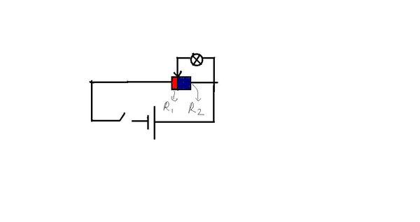 如图所示混联电路中,滑动变阻器红色部分阻值为r1,蓝色为r2,则哪一