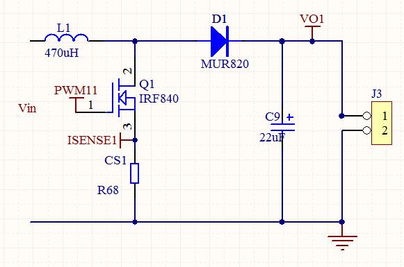 题目: 为什么BOOST升压电路空载输出电压正确,带负载了以后就不正确了? 我用UC3843做升压电路,输入24V,输出60V,0.5A.现在发现空载的时候,输出是60V,只要带负载,输出电压就降低,达不到60V,请问这个是什么原因呢?工作频率50K.  解答: 电感量太小,R68阻值换小一点