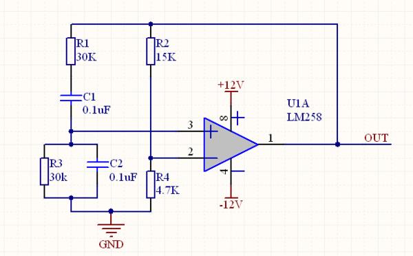 题目: 关于一个产生正弦波的电路,请确认下图电路能否输出正弦波?  感谢你们的耐心回答.理论上电路时可以工作的,但是电路做出来之后不工作,我把R1和R3减小到4.7k时电路工作频率约500Hz.但是我需要一个低频的正弦波(1~50Hz).在换过电阻的基础上将C1和C2换为1uF电容.此时电路又不工作.