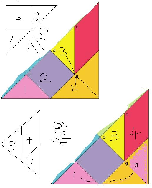 请你用七巧板中的三块拼一个三角形,并画出所有可能的