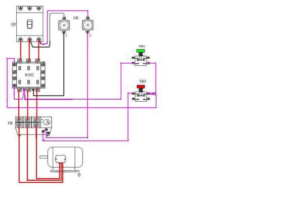 三相异步电动机(4千瓦)的交流接触器和过热载继电器跟自锁开关怎么接