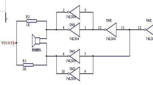 超声波驱动电路,如下图,发射探头两侧的电阻的具体作用是什么?