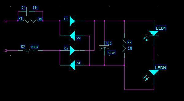 电容电阻并联 led电路