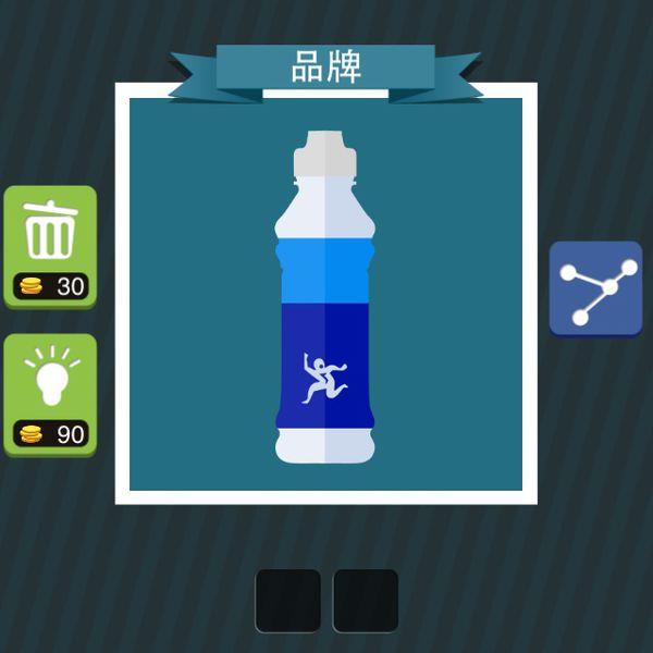 疯狂猜图品牌蓝色瓶子有个小人,两个字.