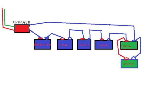电动车电池并联如图,由于电瓶电压下降,在串联一个12v
