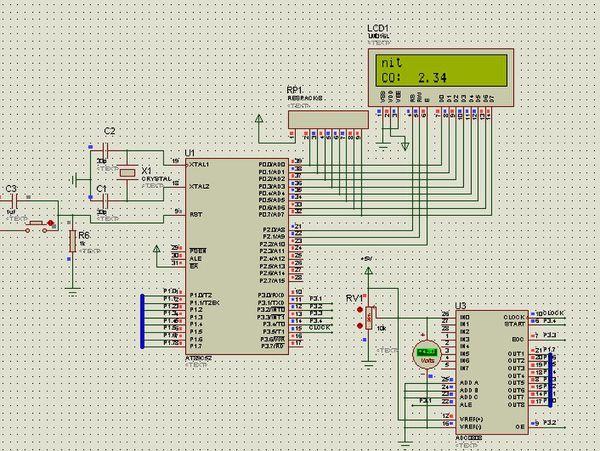 proteus仿真0-5v的adc0808单片机电压表,为什么滑动变阻器滑到中间