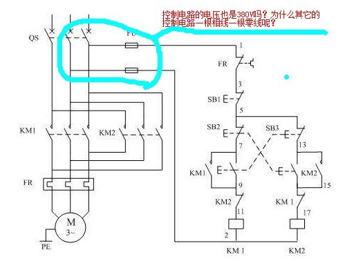控制电路的电压问题?电动机正反转为例,请教高手