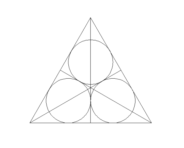 cad怎么在一个等边三角形里画3个圆