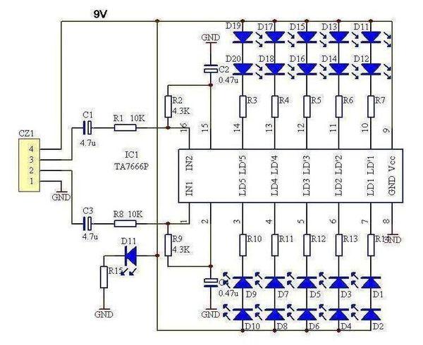 帮忙看看电路图 音乐节奏来控制led灯闪烁的电路