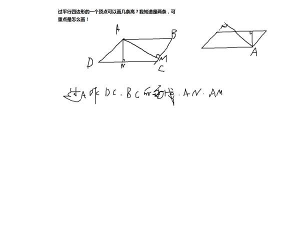 过平行四边形的一个顶点可以画几条高?我知道是两条,可重点是怎么画!图片