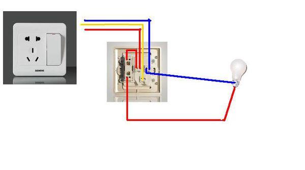 求五孔插座带开关接一个灯的接线图